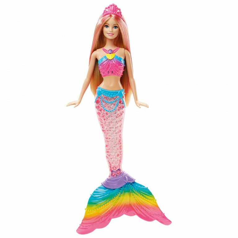 BARBIE SIRENA LUCES DE ARCO IRIS