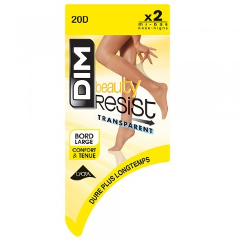 DIM BEAUTY RESIST- MITJONS DE MITJA TRANSPARENT, 2 UNITATS CANYELLA