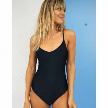 AERIE ONE PIECE STRAPPY BACK TRUE BLACK