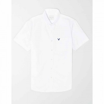AMERICAN EAGLE 1518 INT SS BTD PC DYED SOLID OXFORD W EAGLE WHITE