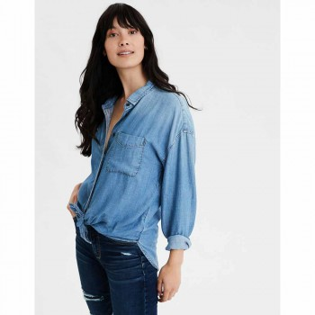 AMERICAN EAGLE CORE OVERSIZED BUTTONDOWN BLUE