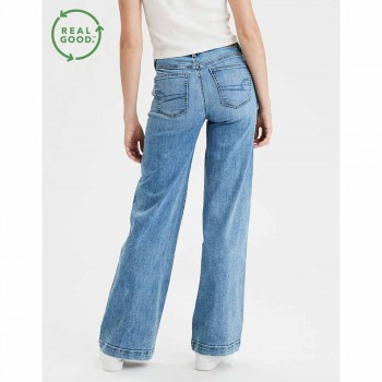 AMERICAN EAGLE SUPER HI-RISE WIDE LEG MEDIUM INDIGO