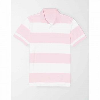 AMERICAN EAGLE INTL YD RUGBY STRIPE POLO PINK