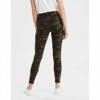 AMERICAN EAGLE HR CAMO UTILITY JEGGING CROP CAMO GREEN