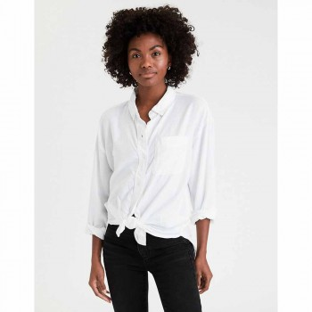 AMERICAN EAGLE CORE OLIVE OXFORD BD WHITE