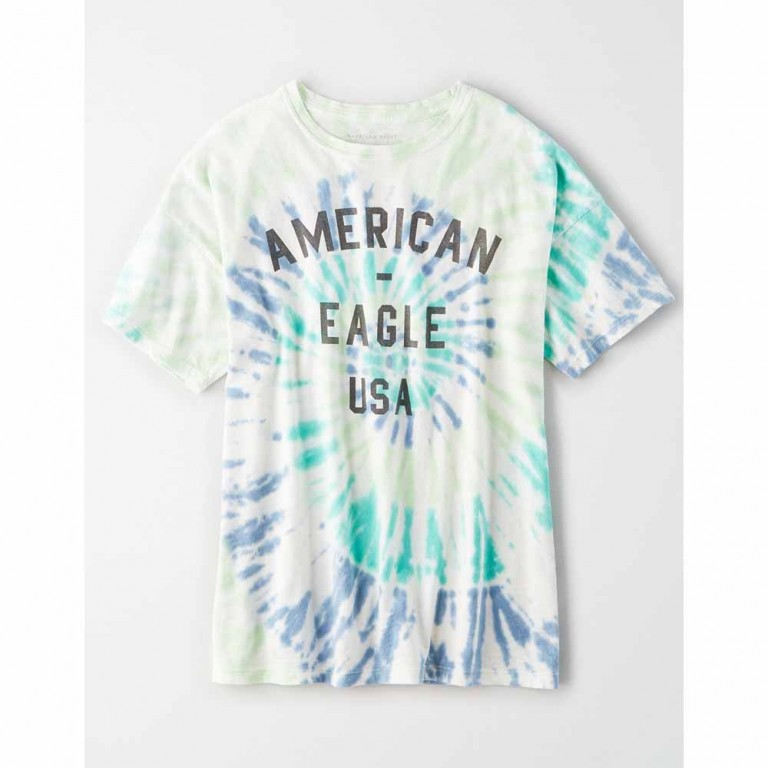 AMERICAN EAGLE 9467 INTL TIE DYE DINER OVERSIZE TEE BLUE