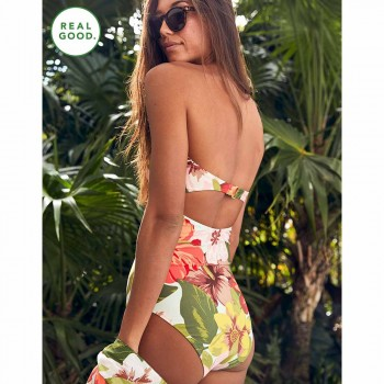 AERIE ONE PIECE KNOTS ECO PRINT RESORT RED