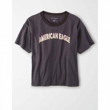 AMERICAN EAGLE 9465 INTL BRANDED STRIPE MICKEY TEE BLACK CHARCOAL