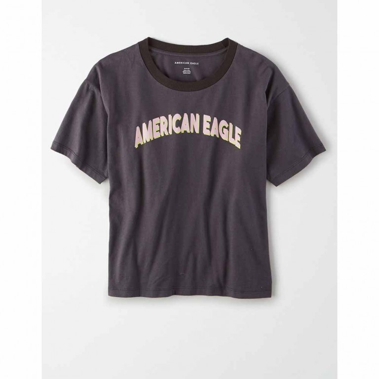 AMERICAN EAGLE 9465 INTL BRANDED STRIPE MICKEY TEE BLACK CHARCOAL