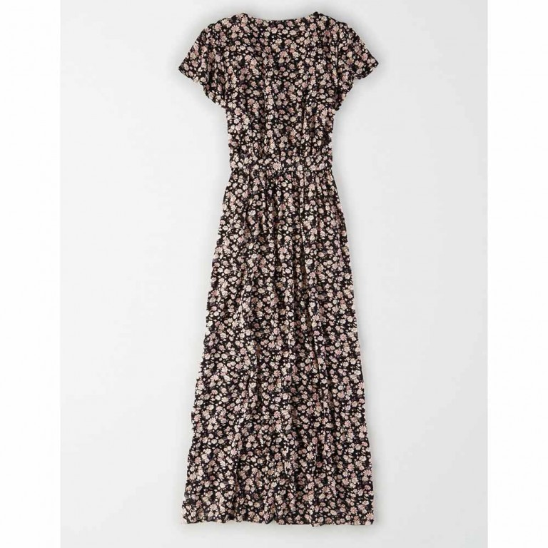 AMERICAN EAGLE PRINTED SS PLACKET FRONT BELTED MAXI BLACK