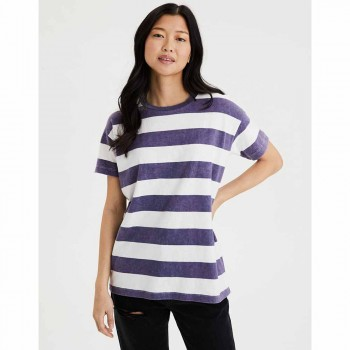 AMERICAN EAGLE 7008 SS CREW NK TEE STRIPES BLUE
