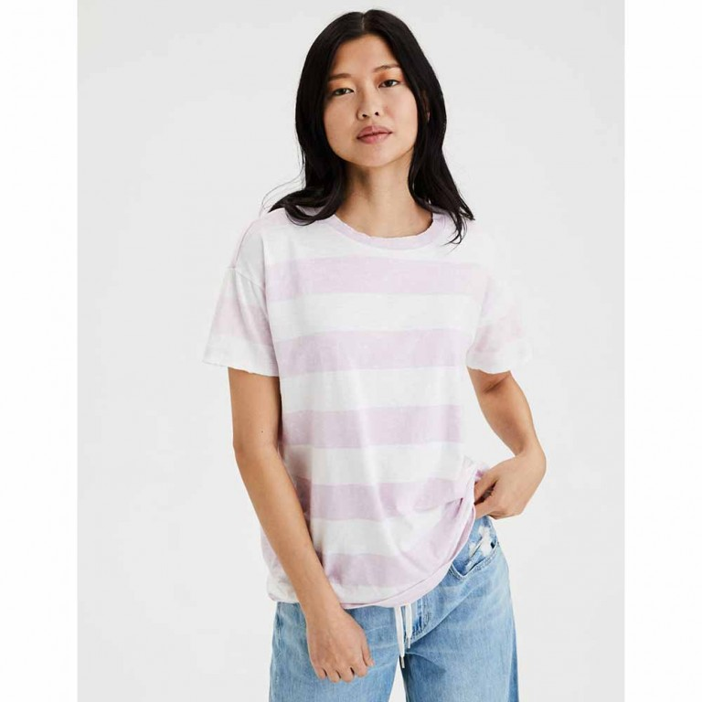 AMERICAN EAGLE 7008 SS CREW NK TEE STRIPES LIVELY LILAC