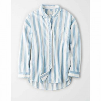 AMERICAN EAGLE CORE SHIRTING LIDO STRIPE BD BLUE