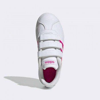 ADIDAS VL COURT 2.0 VELCRO INFANTS BLANC/FUCSIA