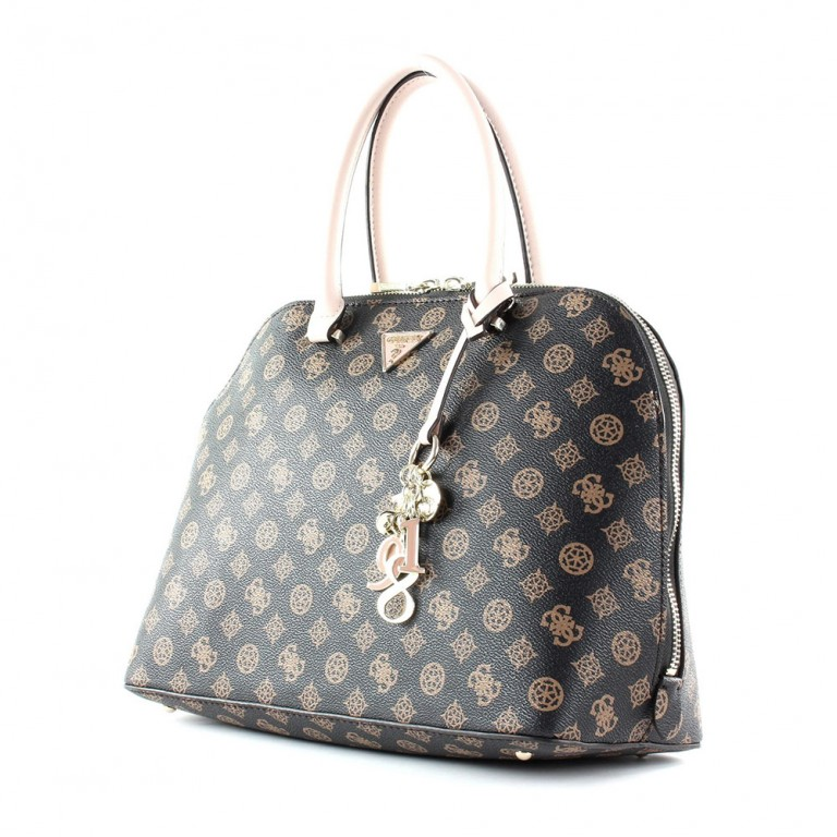 MADDY LARGE DOME SATCHEL BROWN/BLUSH